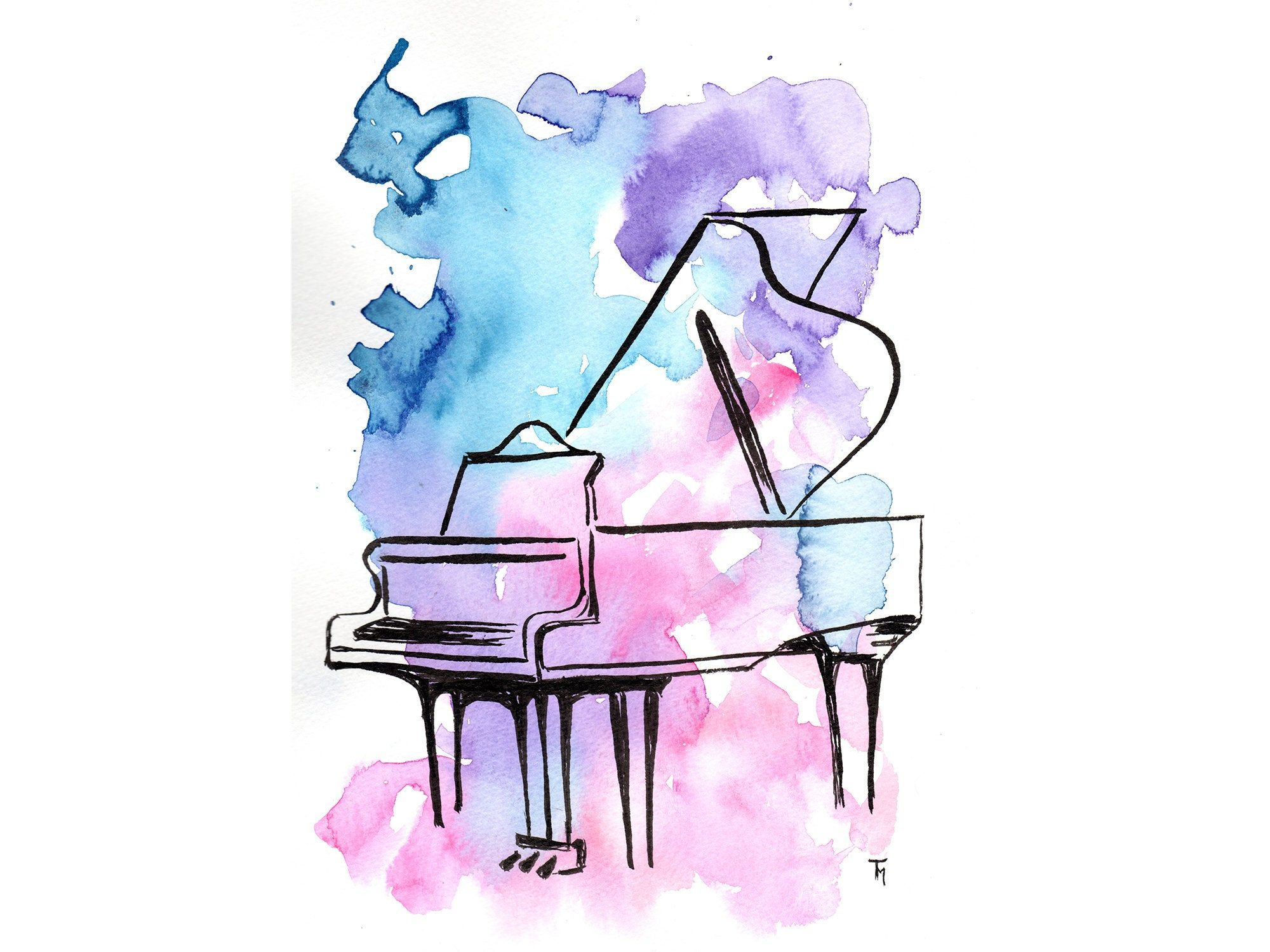 Watercolour Painting Piano Colourful Piano Print Of Hand Painted Watercolor Painting Aquarellbild Musik Malerei Aquarell
