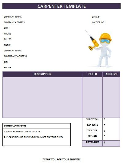 CARPENTER INVOICE TEMPLATE Carpenter Invoice Templates - Carpenter invoice template