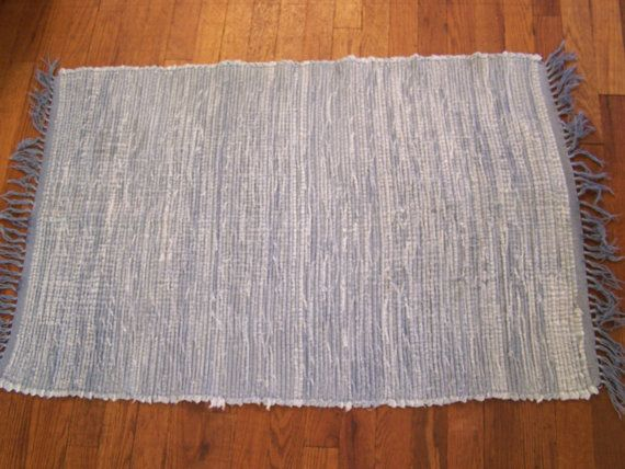 Vintage Loomed Denim Rag Rug, Light Blue, w/Fringe, Country Cottage, Farmhouse Kitchen Decor