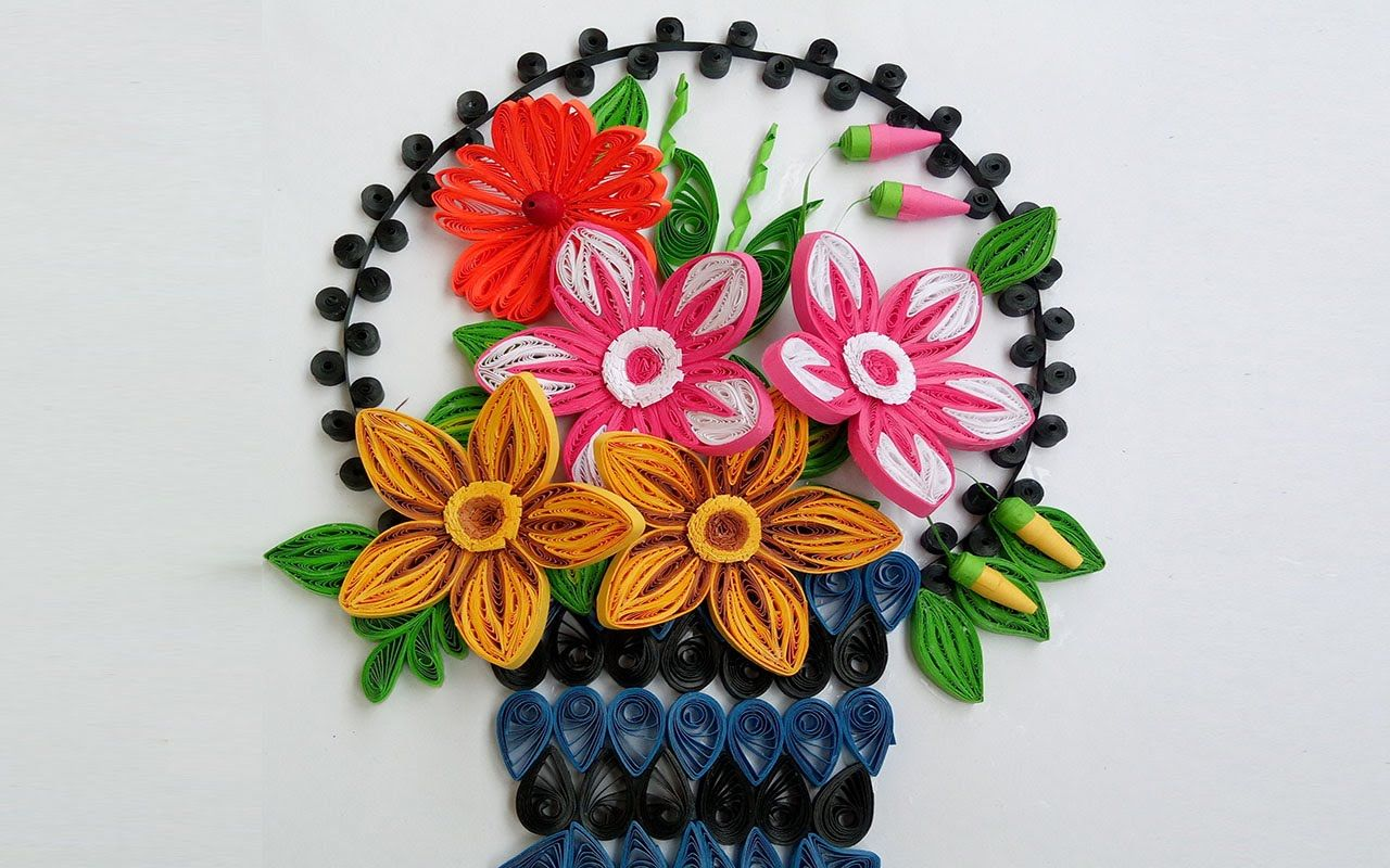 Paper Quilling Art How To Make Beautiful Flower Basket Quilling