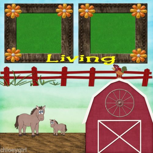 Premade-Scrapbooking-2-Page-Layouts-COUNTRY-LIVING-barn-tractor-animals