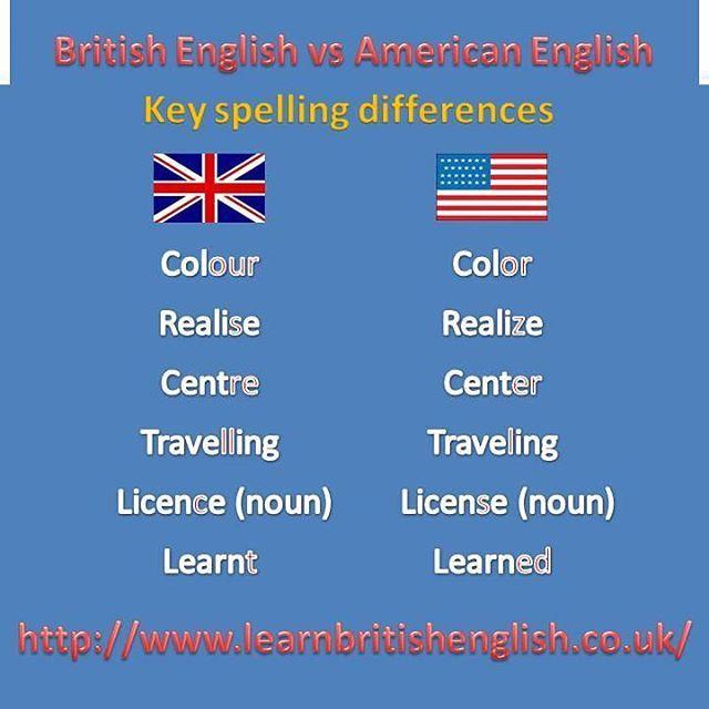 British Vs U S Spelling British English British Vs American