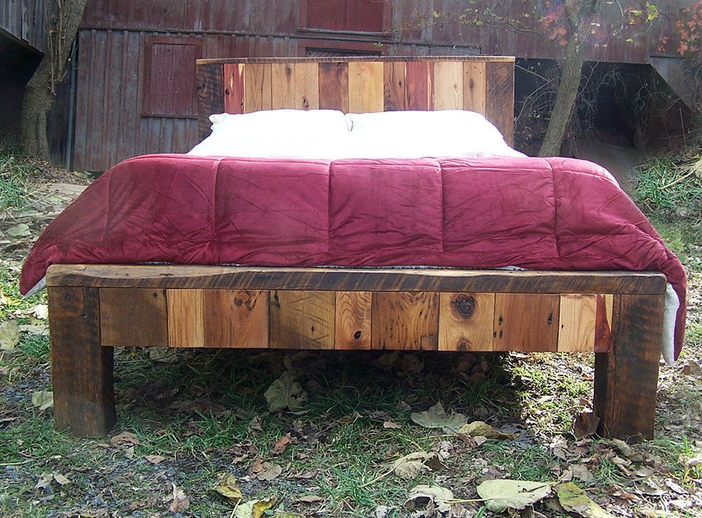 Colorful Reclaimed Wood Bed Frame Reclaimed wood bed