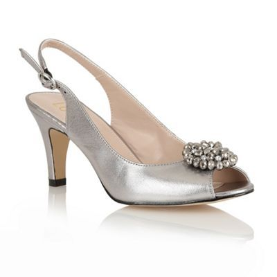 Pewter shoes, Pewter heels, Open toe shoes