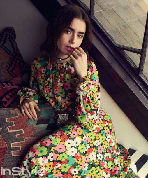 Dress: floral floral lily collins editorial floral maxi long sleeve