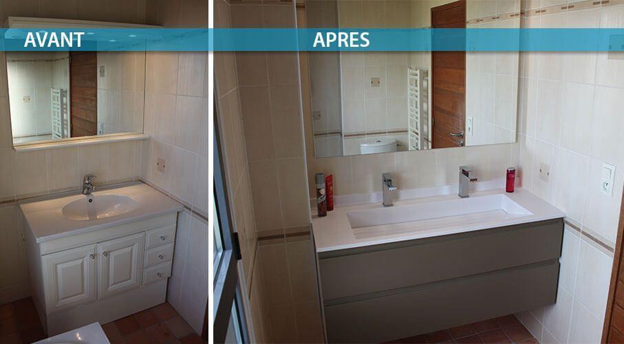 Rénovation d\'un Meuble avec une Grande Vasque et 2 Robinets ...