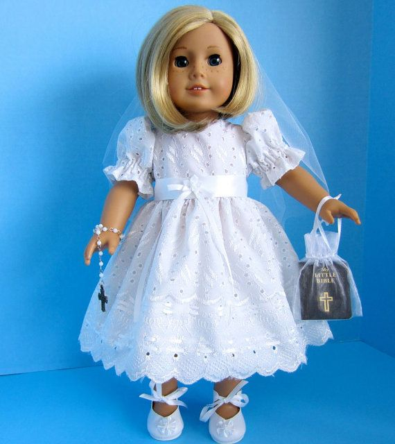 american girl doll first communion dress in by sewspecialbybarb ag clothes 3. Black Bedroom Furniture Sets. Home Design Ideas