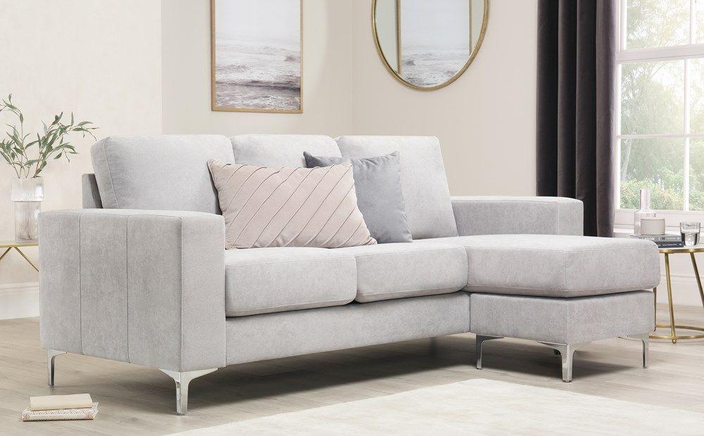 Baltimore Dove Grey Plush Fabric L Shape Corner Sofa Furniture Choice Corner Sofa Sofa