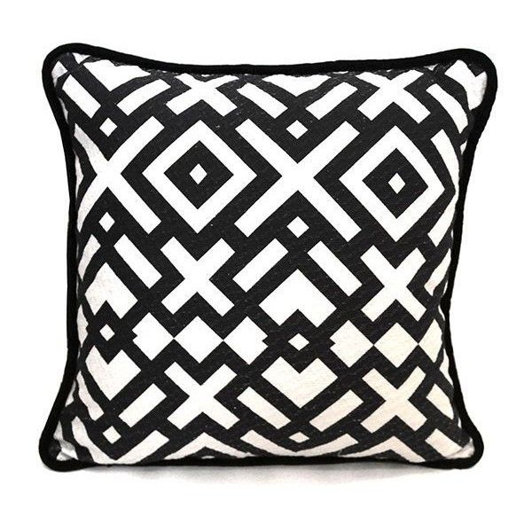 Society of Wonderland Bells Bold Weave + Print Pillow Black/white By (8,345 PHP) ❤ liked on Polyvore featuring home, home decor, throw pillows, woven throw pillows, black and white accent pillows, black home decor, black and white home decor and black accent pillows