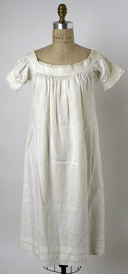 Chemise Date 1830s Culture American Or European Medium Linen Fashion Night Gown Historical Dresses