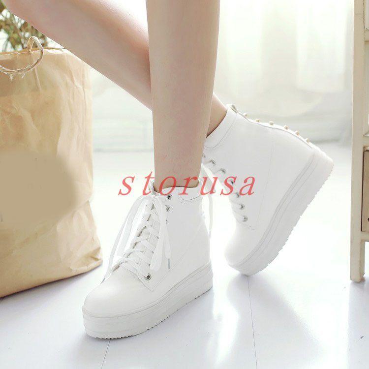 9364c8f9ef15d3 Punk Platform Creeper Womens Lace Up High Top Sneakers Hidden Wedge Heel  Boots