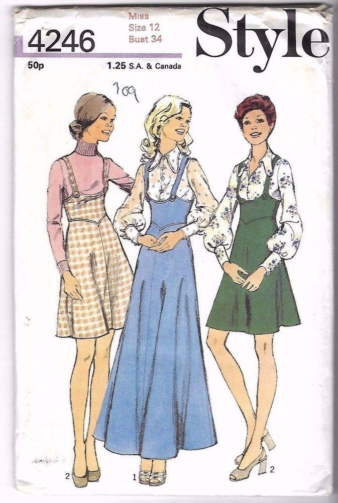Vintage 1970 S Sewing Pattern Style 4246 Pinafore Dress Blouse Complete 12 B34 Vintage Sewing Patterns Pattern Fashion Retro Fashion Vintage