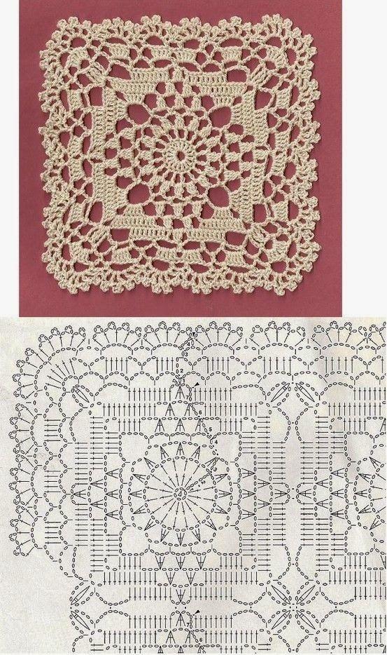 Quadrado Lindo De Crochê | Motive, Häkeln und Teppich häkeln