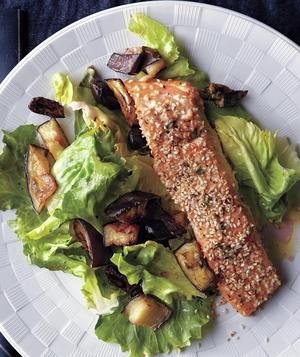 Roasted Salmon and Eggplant With Wilted Escarole - becoming a regular! Instead of escarole, I've used Swiss chard or red chard. I also don't include olives.
