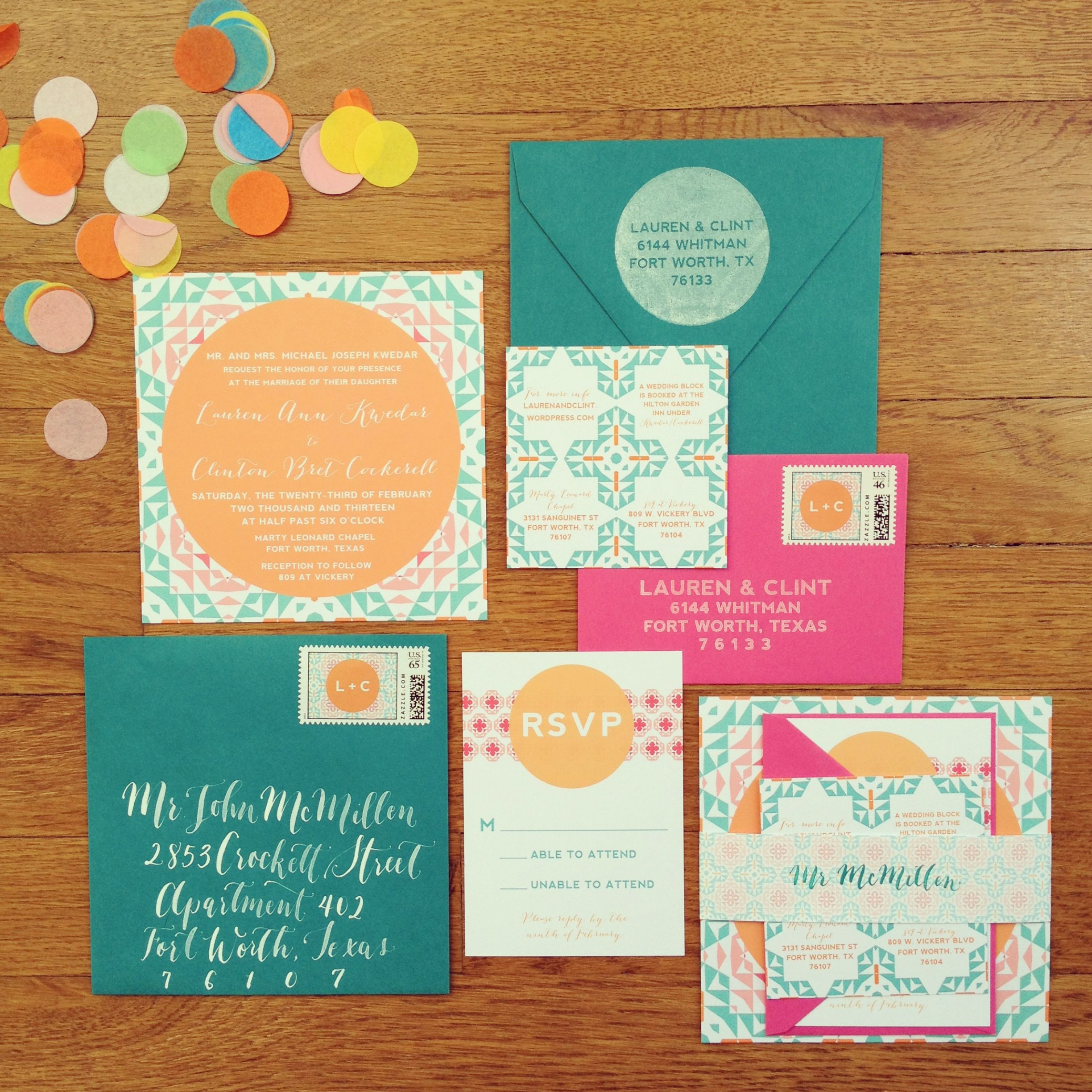 Color and pattern play wedding suite! | Wedding Daze | Pinterest ...