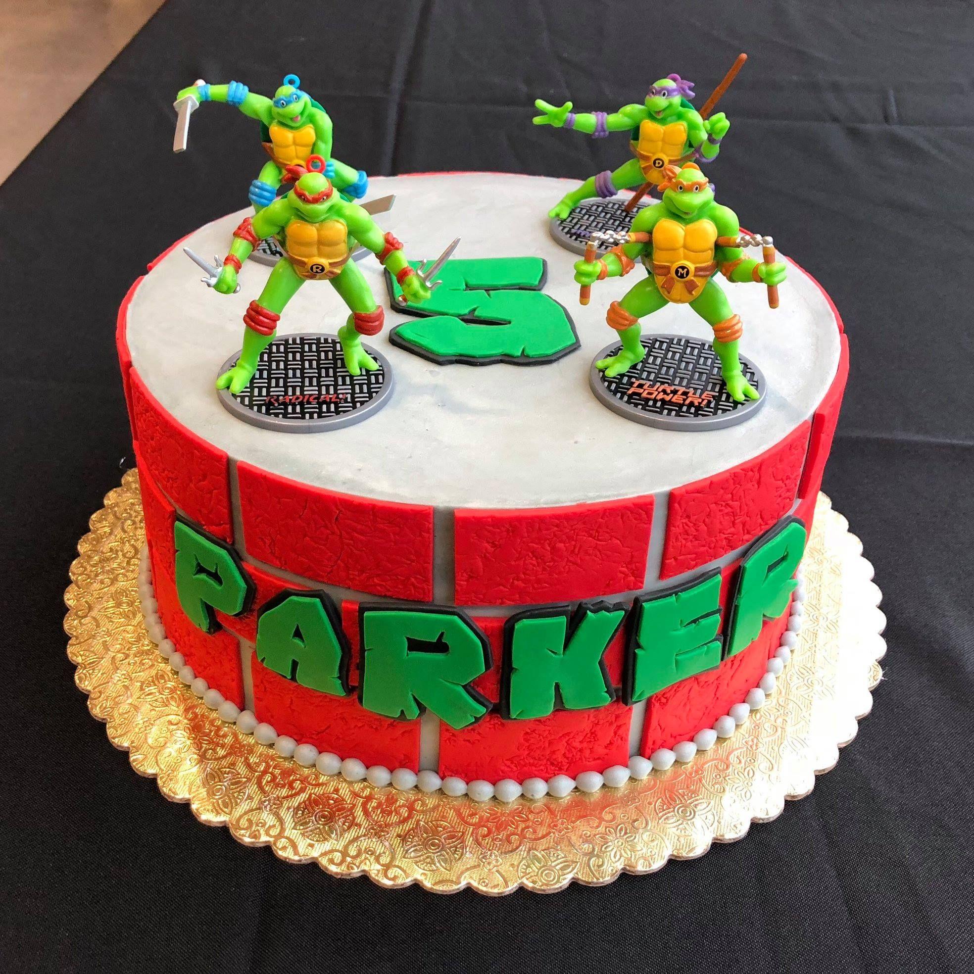 A Teenage Mutant Ninja Turtles Cake For Parker S 5th Birthday Boy Birthday Cake Ninja Turtle Cake Cake