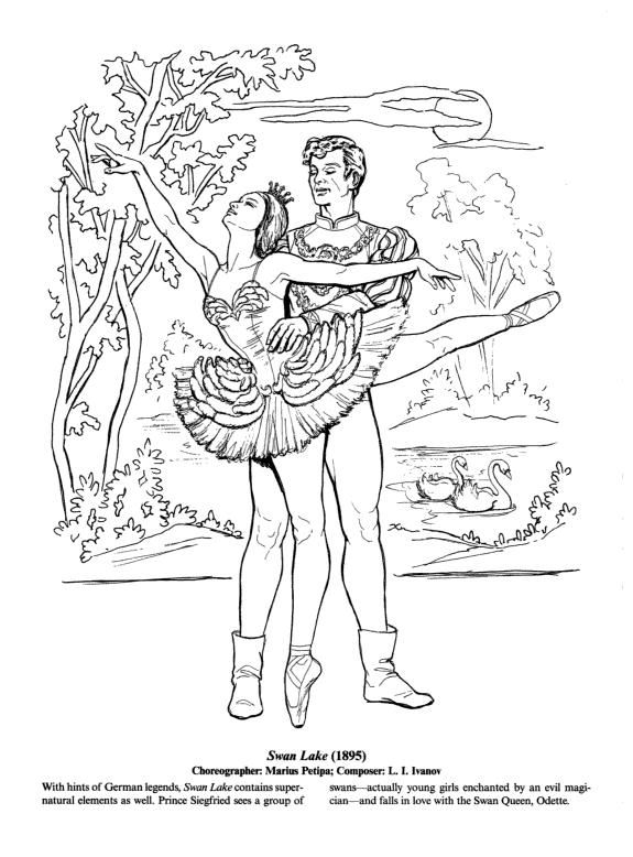 free swan lake coloring pages - photo#8