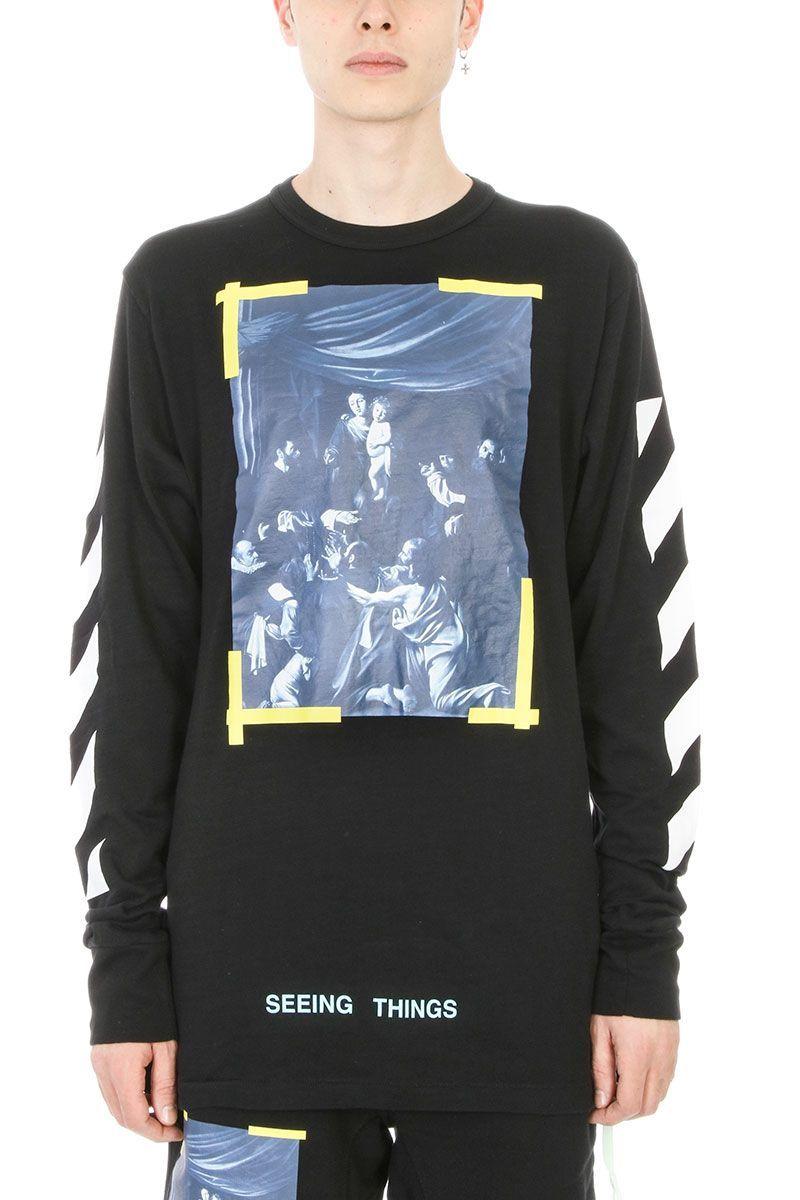 Off White Diag Caravaggio Black Cotton T Shirt Off White Cloth Black Cotton Sweatshirt Black Long Sleeve Printed Sweatshirts