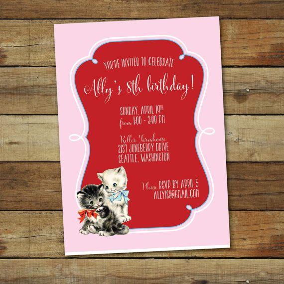Vintage kitten birthday party invitation by saralukecreative 1600 birthdays vintage kitten birthday party invitation filmwisefo