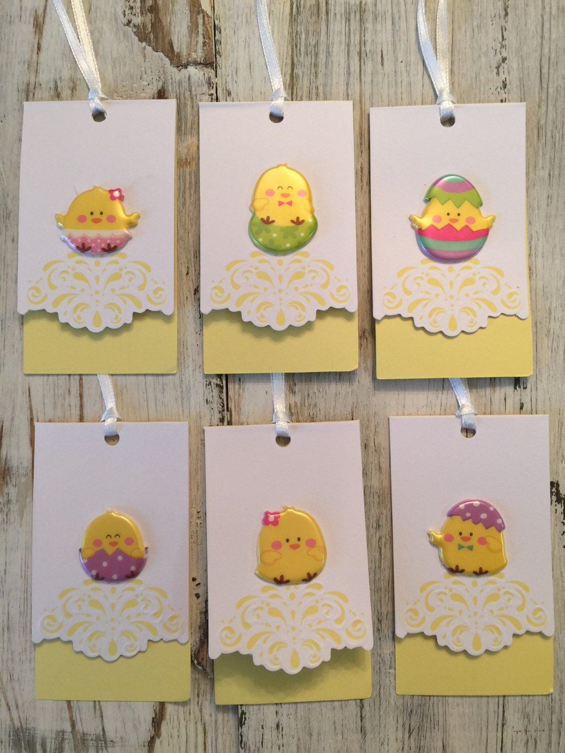 Easter cute baby chicks gift tags set of 6 puffy peeps easter cute baby chicks gift tags set of 6 puffy peeps stickers on yellow tags with satin ribbons easter basket gift tag embellishment by on etsy negle Images