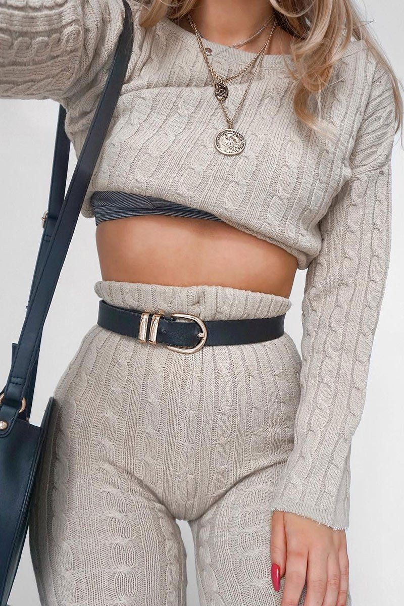 Beige Cable Knit Loungewear Set - Anha