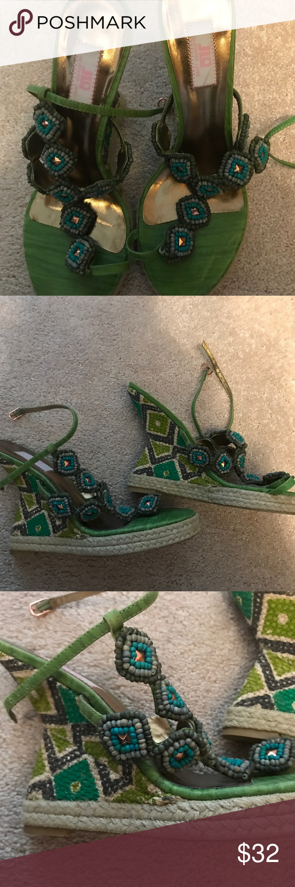 JENNIFER LOPEZ BEADED AZTEC WEDGE SANDALS GORGEOUS JLO BEADED AZTEC WEDGES. PERFECT CONDITION. WORN ONCE I THINK. SINGLE STRAP TIES AROUND THE ANKLE.  GREEN TURQUOISE GOLD. Jennifer Lopez Shoes Wedges