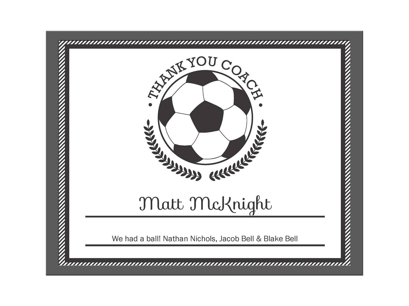 Editable PDF Sports Team Soccer Thank You Coach Certificate Award Template  In Black
