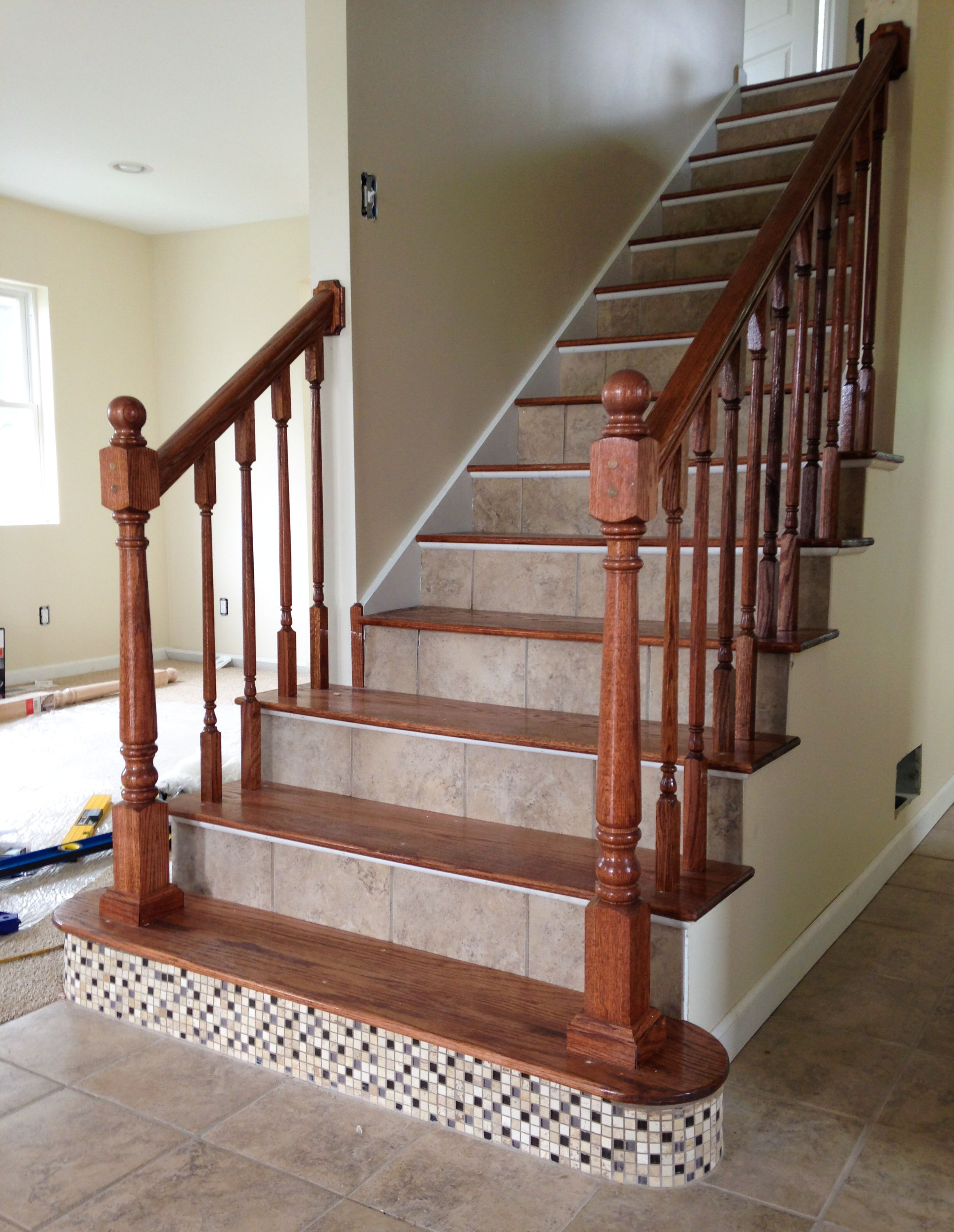 Best Ceramic Tile Risers And Red Oak Treads Show Stopping 640 x 480
