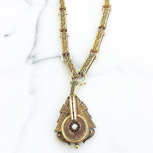 Antique victorian necklace and locket pendant in 14k gold vintage antique victorian necklace and locket pendant in 14k gold vintage jewelry victorian pinterest victorian pendants and diamond design aloadofball Images