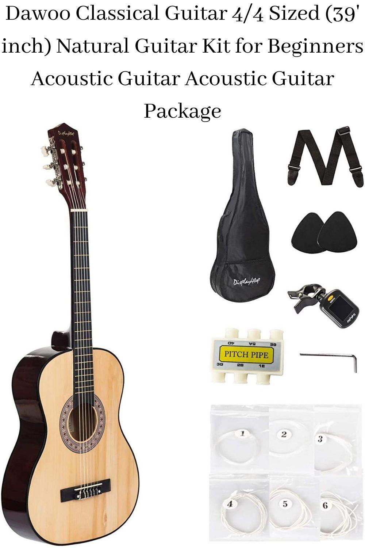 Dawoo Classical Guitar 4 4 Sized 39 Inch Natural Guitar Kit For Beginners Acoustic Guitar Guitar Best Acoustic Guitar Acoustic Guitar