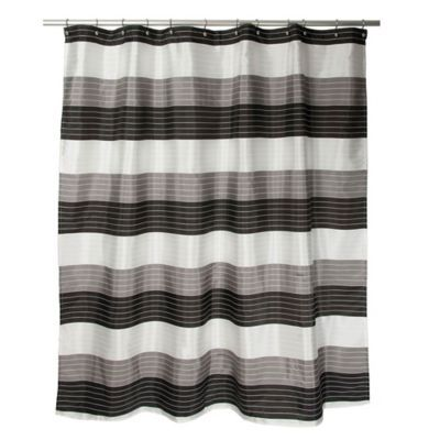 Ambrosi Striped Shower Curtain In Black White Black White Grey