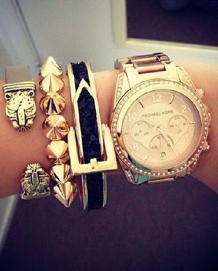 Pinstyle Gold Michael Kors Watch Handbags Michael Kors Urban Fashion Women