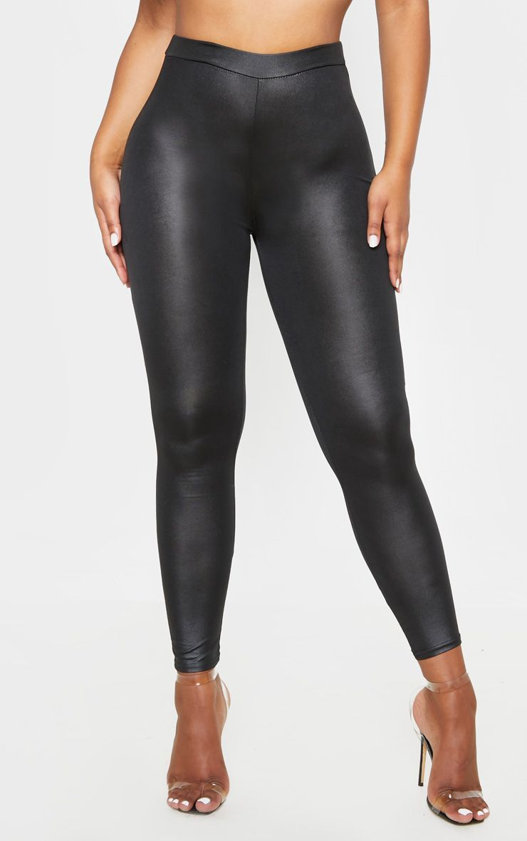 1f19c21e12 Black Ruched Bum Coated Leggings in 2019 | Products | Leggings ...