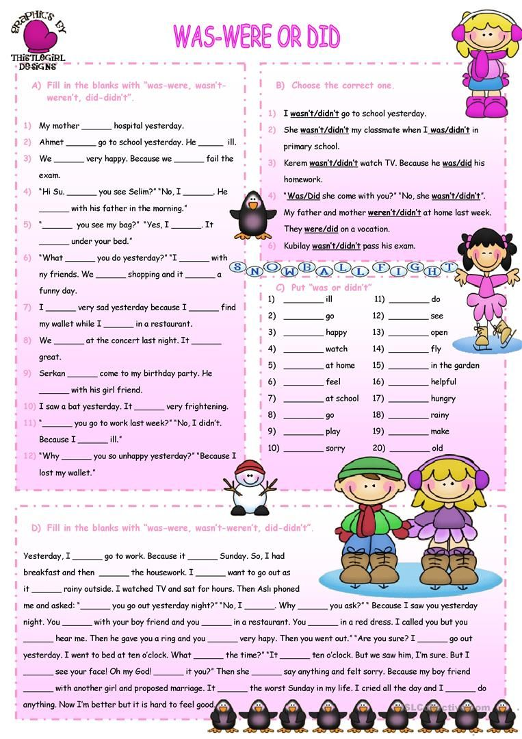 Was Were Did Worksheet Free Esl Printable Worksheets Made By Teachers Reading Comprehension Kindergarten Teaching English English Grammar Worksheets [ 1079 x 763 Pixel ]