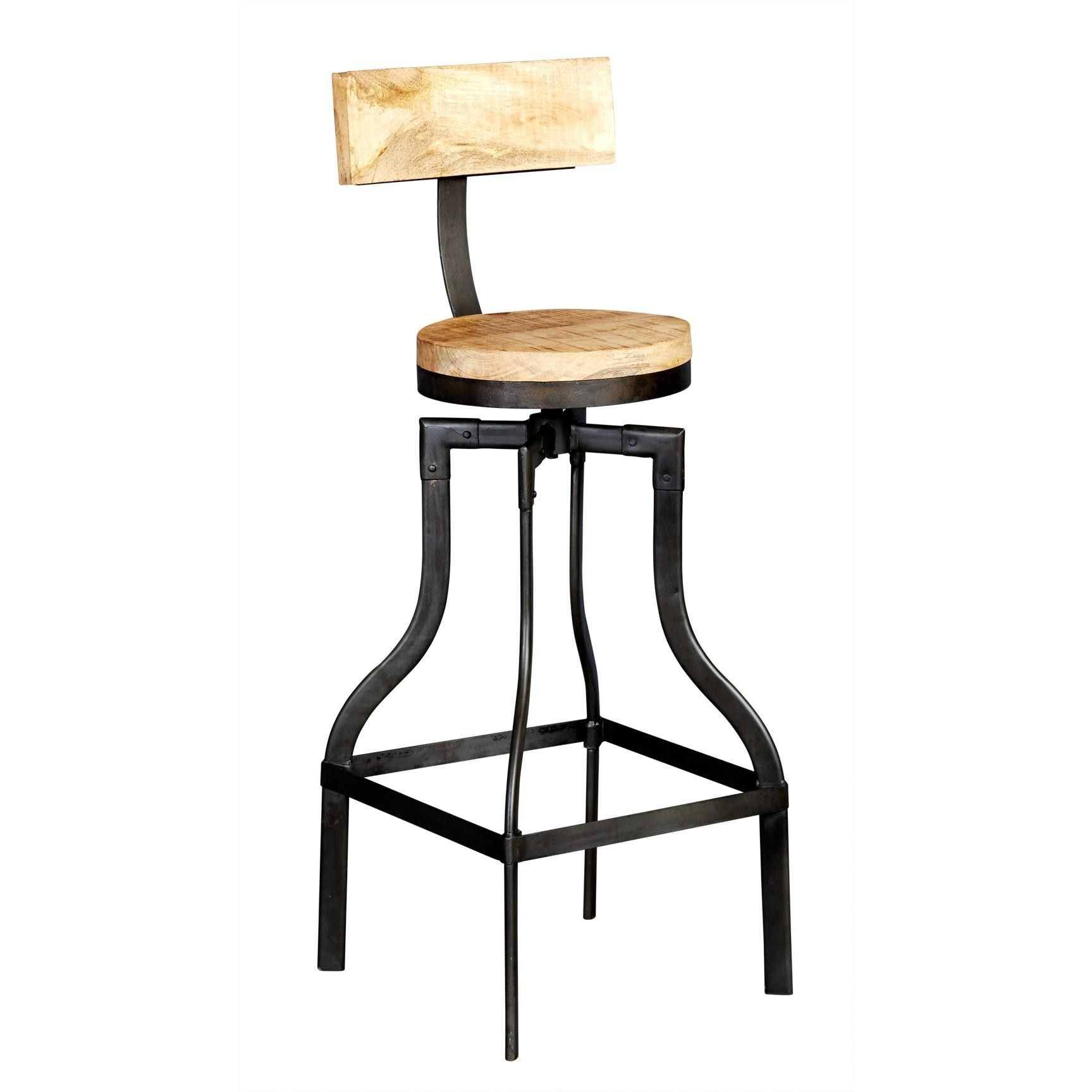 Cosmo Urban Style Industrial Chiq Metal Wood Bar Stool With