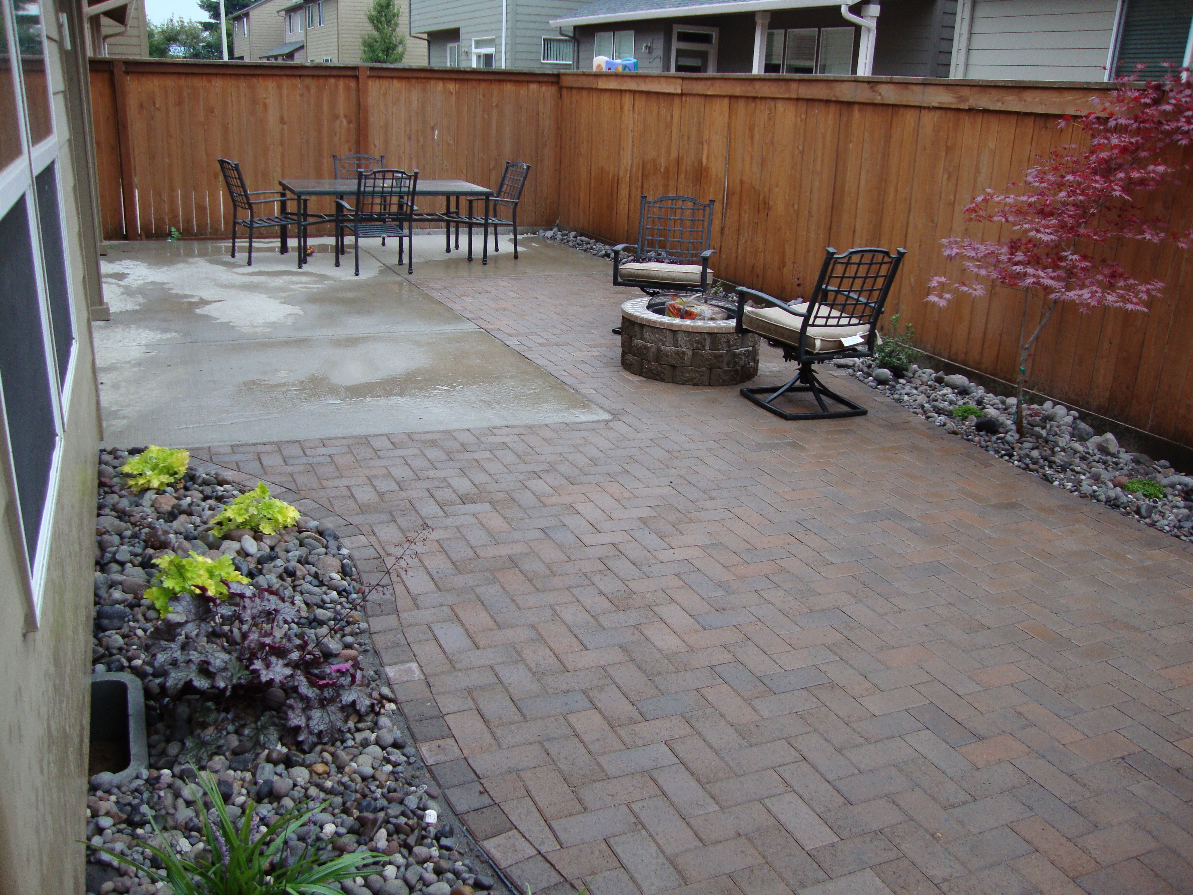 small backyard ponds with fire pit patio | Small Back ... on Small Paver Patio Designs id=14118