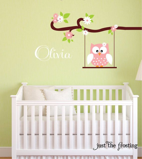 Personalized Name Owl Wall Decal - Nursery Wall Decals - Owl and ...