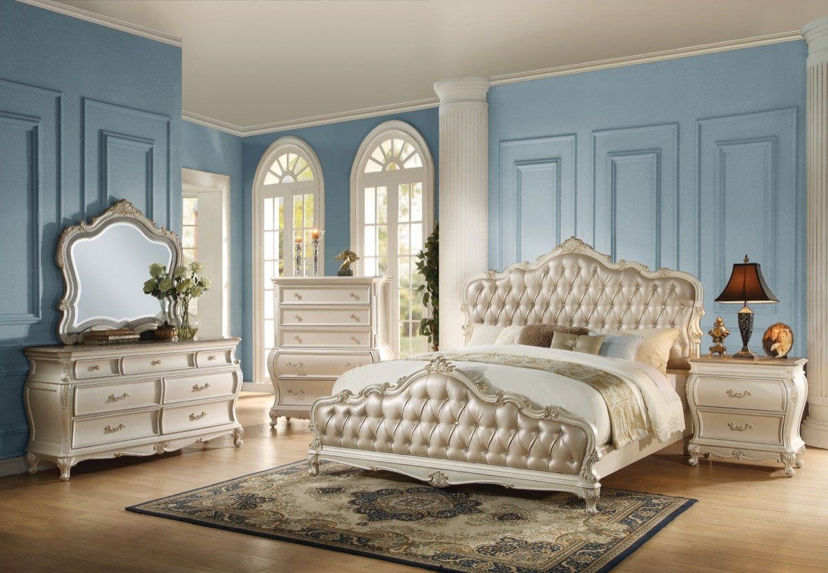 Acme Chantelle Eastern King Bed Rose Gold Pu Pearl White