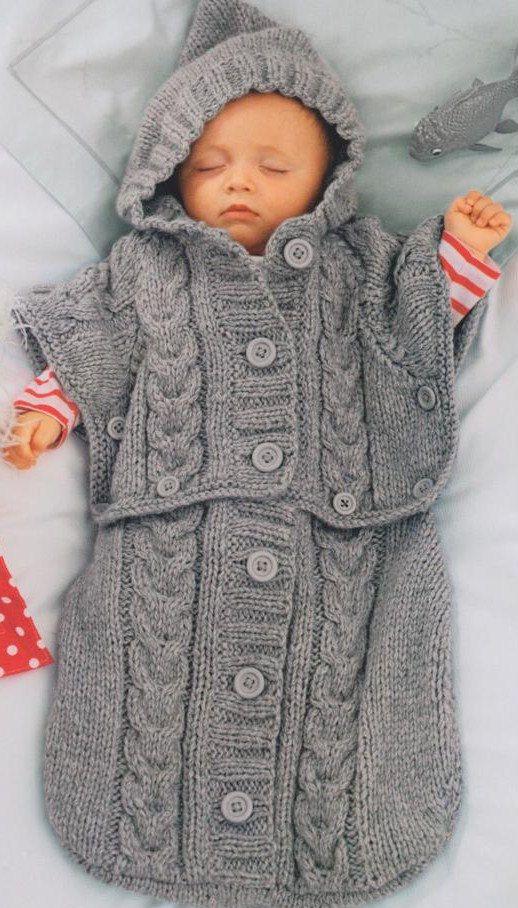 Aran Baby Sleeping Bag, Bunting, Cocoon, Cable Pattern ...