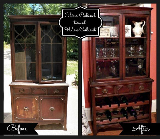 china cabinet turned wine cabinet