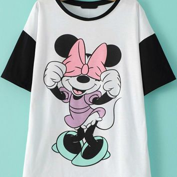 black and white cartoon character print t shirt - Cartoon Characters To Print