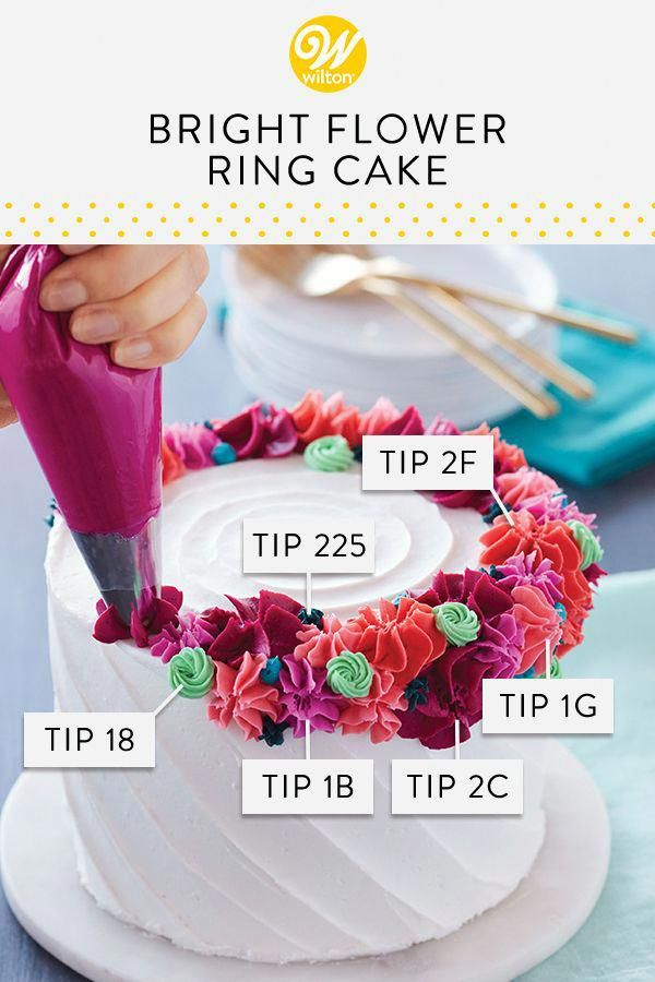 Topped with a crown of buttercream flowers, this any occasion cake can be used for birthdays, anniversaries, showers and so much more. Use a variety of drop flower tips and star tips to create a colorful ring of buttercream decorations that will make your cake shine!
