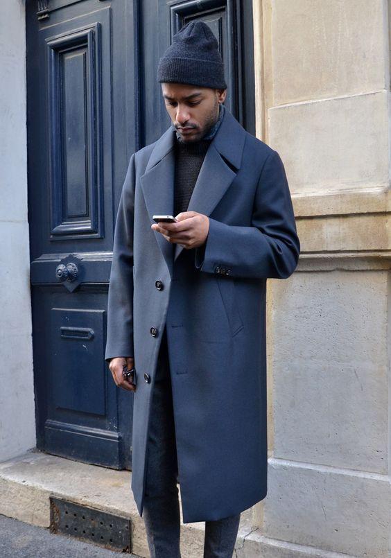 Navy look  #navy #bonnet #coat #mensstyle #bleu #blue #manteau #casual #look #door