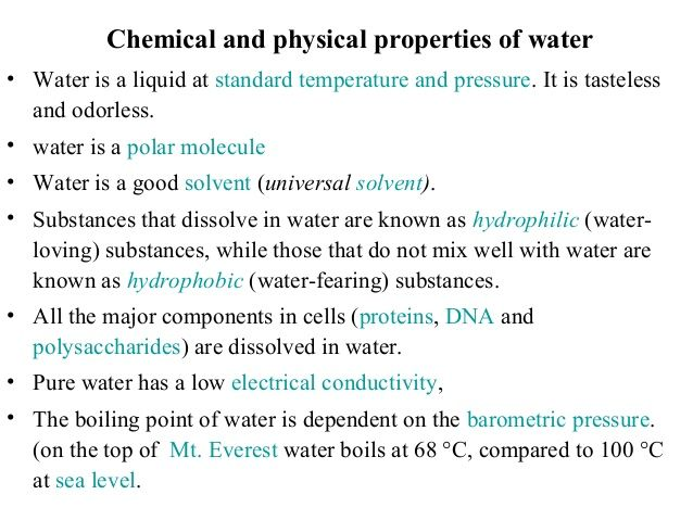 chemical and physical properties of water