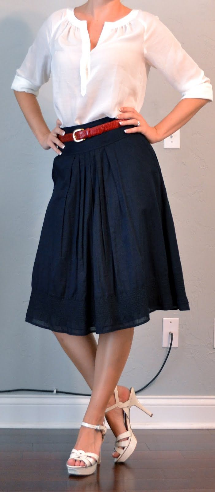 Top: White peasant blouse - LOFT; Bottom: Navy a-line skirt ...