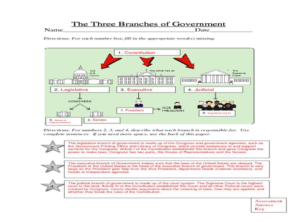 The Three Branches Of Government Legislative Executive Judicial Lesson Plan