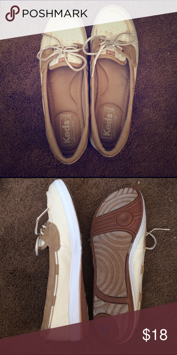 Keds slip ons Sperry style keds. Yellow and tan. Size 7. Worn once so almost new condition. Memory foam footbed. Keds Shoes Flats & Loafers