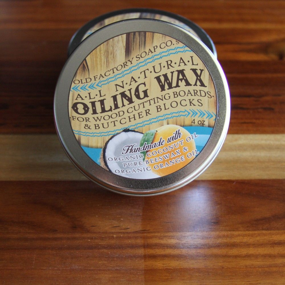 Natural cutting board wax tin old factory soap company old