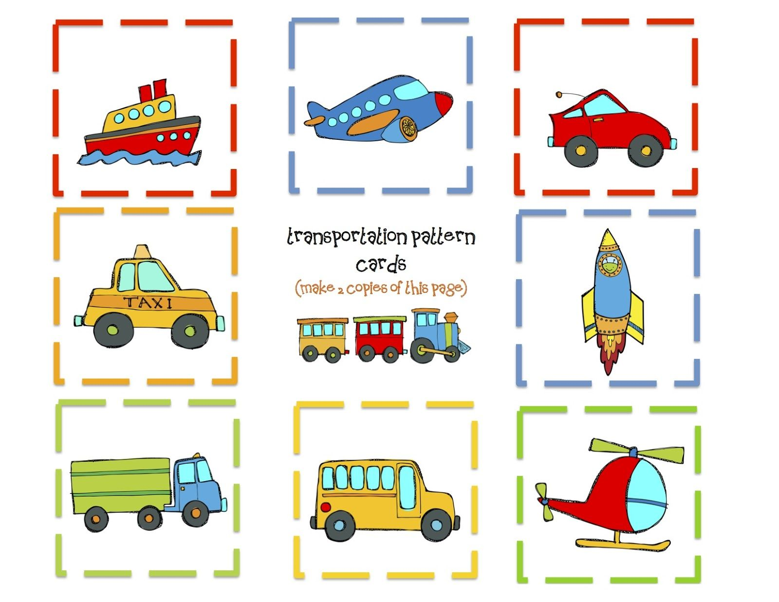Transportation Memory Game Cards