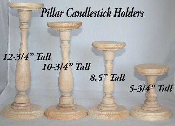 Unfinished Wood Pillar Candlestick Holders Tall Candlestick Wedding Decor Ebay Diy Wooden Candle Tall Candlesticks Pillar Candles Diy